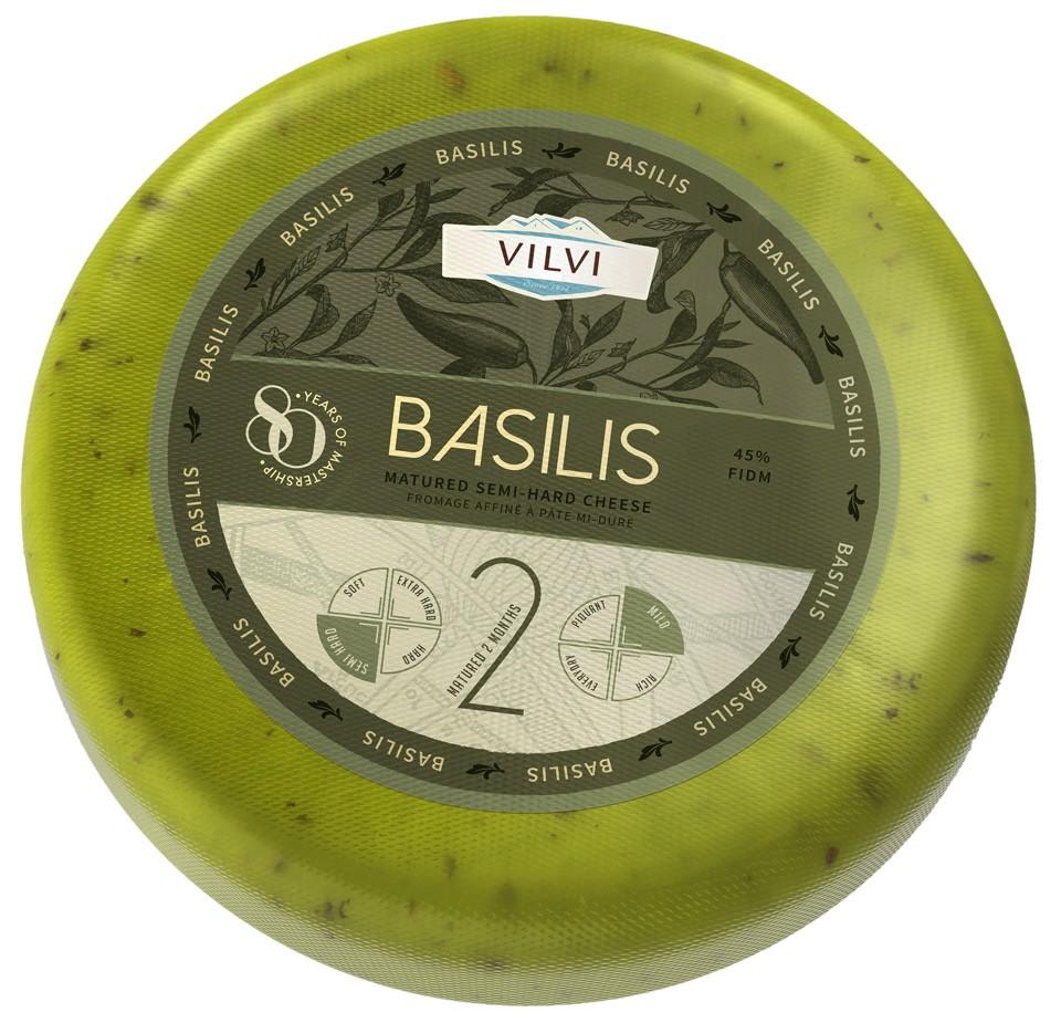 Semi-hard cheese Basilis with basil